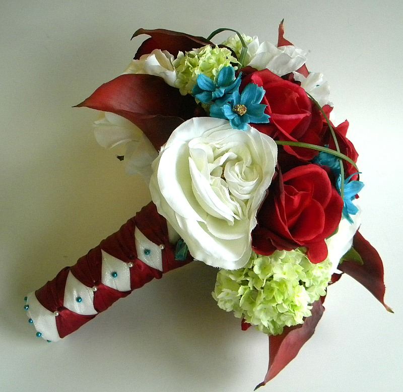 13 Piece Wedding Flower Package in Deep Red, Burgundy, Turquoise and Green - Made to Order